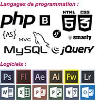Logos langages/logiciels du CV d'ingénieur freelance
